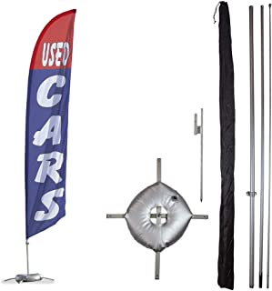 Vispronet Premium Used Cars Feather Flag Kit - Includes 13ft Sectional Aviation Grade Fiberglass Poles, Used Cars Flag, Cross Base, Weight Bag, Ground Spike and Pole Sleeve Bag