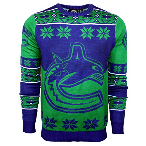NHL Vancouver Canucks Big Logo Ugly Crew Neck Sweater, Large, Team Color