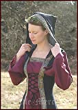 De la Edad media para vestido de mujer con capucha y texto Saphiria, de colour negro y de costura para vestido de colour rojo burdeos/vestido de wikinger LARP, small/medium
