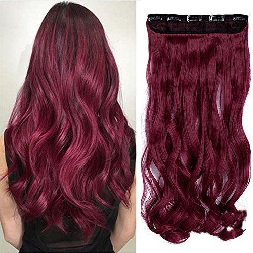 61cm Haarteil Clip in Extensions 1 Tresse 5 Clips ganzen Kopf Haarverlängerung Human Hair wie Echthaar Gewellt Lila Rot 24