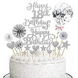 Torta Toppers de Cumpleaños Decoración, Cake Topper 17 Piezas Toppers de Pastel adorno para tarta Torta Toppers para cupcakes, postres, para fiestas de bebés, cumpleaños infantiles (Plata)