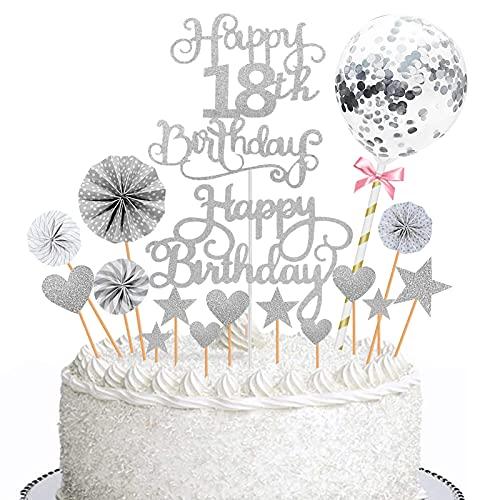 JIASHA Happy Birthday Cake Topper,18 Anni Decorazione Torta di Compleanno,Stelle Cuori Topper Torta Coriandoli Palloncino Cake Decoration,Compleanno Forniture Glitter per Feste (Argento)