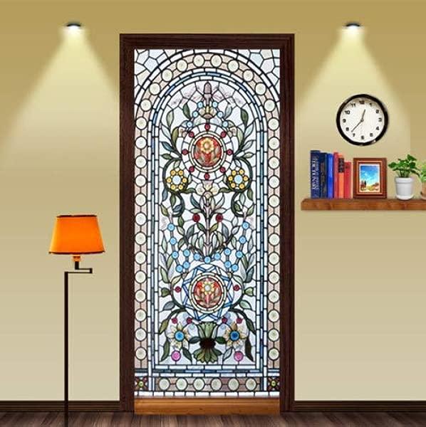 FLFK 3D Self Adhesive Stained Glass Window Door Mural Sticker Bedroom Wallpaper Home Decor 30 3x78 7