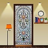 FLFK 3D Self-Adhesive Stained Glass Window Door Murals Sticker Bedroom Wallpaper Home Decor 30.3x78.7 inch