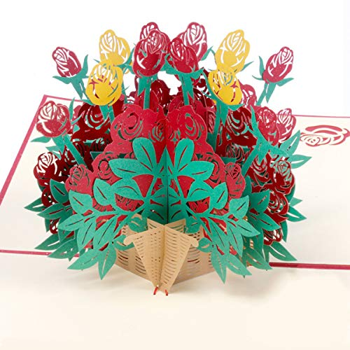 Pop Up Card,3D Happy Valentine's Day Card,Rose Thank You Card for Wife,Husband,Valentines,Greeting Happy New Year Birthday Gifts