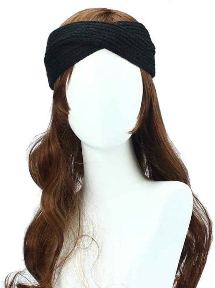 ZFCMIAO Winter Headband Women Lady Crochet Bow Knot Turban Knitted Head Wrap Hairband Winter Ear Warmer Headband Accessories-Black_One Size