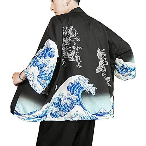 Hombres Vintage Japonés Kimono Camisa Haori Cloak Abrigo Estampado Manga Larga Holgado...