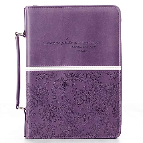 Purple Fashion Bible Cover for Women For I Know the Plans I Have For You Jeremiah 29:11 Floral Embossed Bible Case/Book Cover w/Zipper, Faux Leather, Large