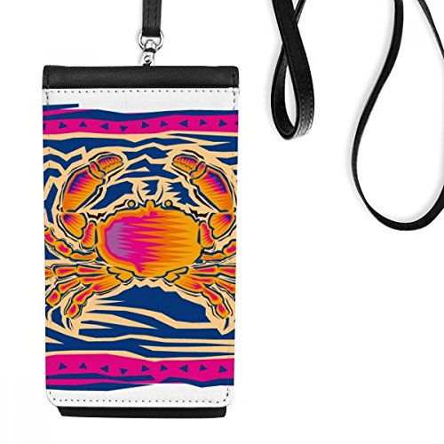 DIYthinker Handgeschilderde sterrenbeeld Kanker Mexicon Cultuur Graveren Kunstleer Smartphone Hangende portemonnee Zwart Telefoon Portemonnee Gift