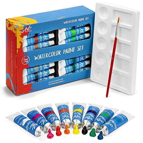 Watercolor Paint Set - 32 Water Color Paints for Artists, Adults & Kids - Extra Palette Tray & Paint Brush Included - Professional Watercolors, Perfect for Painting, Art Supplies Kit w/ 12 ml tubes