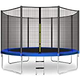 CalmMax Trampoline 12FT Jump Recreational Trampoline with Enclosure Net, Ladder - ASTM Approved - Combo Bounce Outdoor Trampoline for Kids Happy Time