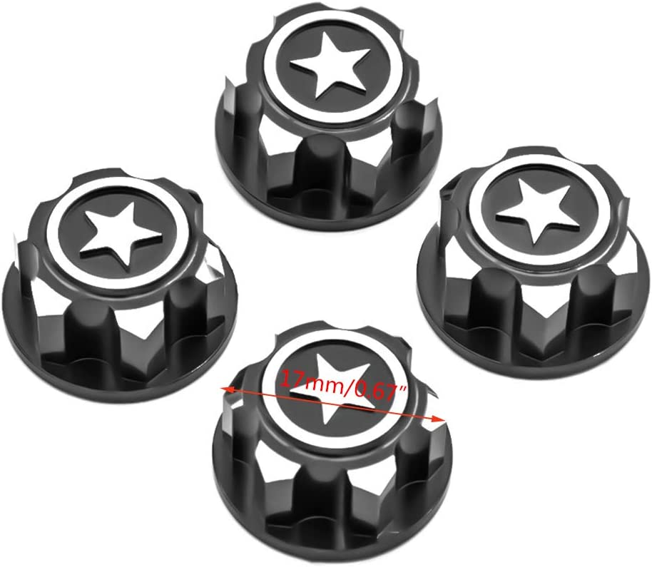 YU-NIYUT 4pcs//Set Metal Non-Slip Nut 17mm Wheel Hub Dust Cap for X-M.a.x.x.// S.u.mmit RC Car RC Vehicle Modification Fun for Adults and Kids