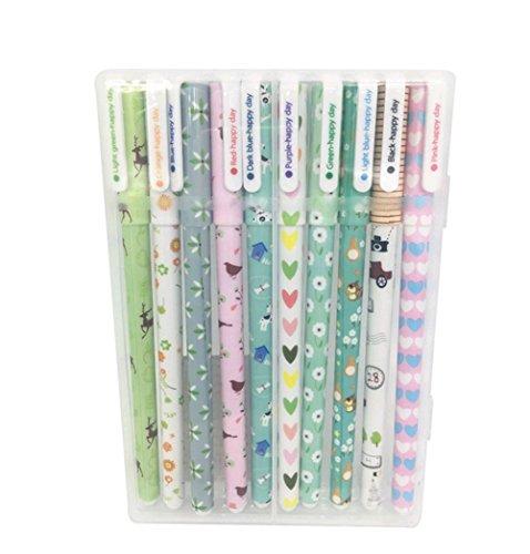 LAAT Bolígrafo de 10 piezas Lindo animal Juego de bolígrafos Juego de bolígrafo Pluma de gel Bolígrafos de colores Rollerball