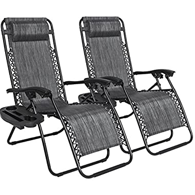 Best Choice Products B0725YSX6L Lounge Chair Recliners Set of 2 Adjustable Zero Gravity Patio