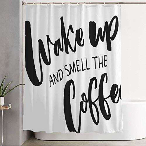 Duschvorhang Cappuccino Wake Geruch Kaffee Gezeichnet Inspiration Zitat Über Idee Zeichen Symbole Lebensmittel Beste Getränk Zeichen Badezimmer Dekorationen Wasserdichter Polyester Stoff mit Haken