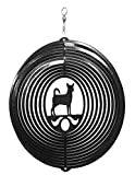 SWEN Products Chihuahua Circle Swirly Metal Wind Spinner