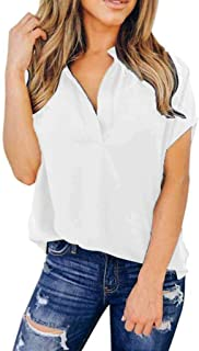 TINGZI Women Tees Ladies Summer Chiffon Solid Short Sleeve Casual Shirt Tops Blouse T-Shirt Loose Fit Comfy Tunic
