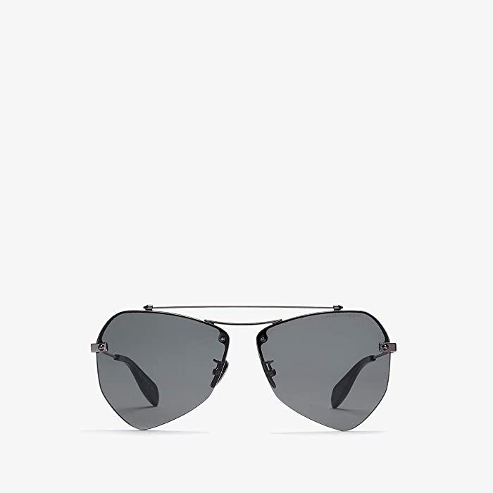 Alexander McQueen  AM0121SA (Dark Ruthenium/Grey) Fashion Sunglasses