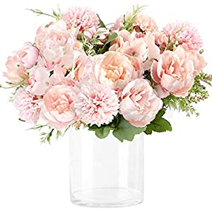 Wholine 3pcs Artificial Flowers Silk Hydrangea Faux Camellia Bouquet Flowersfor Wedding Bouquet Centerpieces Flower Arrangements Decorations