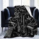 Hangdacahng Instrumento Musical Guitarra Piano Bajo Manta de Forro Polar Negro Manta Ligera Súper Suave y acogedora Cama Manta cálida para Sala de Estar/Dormitorio Todas Las Estaciones 60'x 50'
