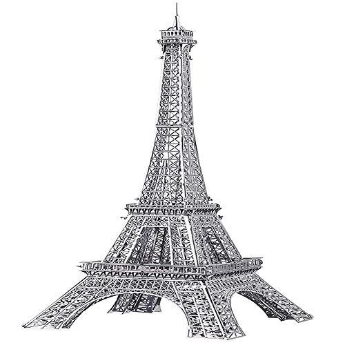 piececool 3D Lasergeschnittenes DIY traditionelles Weltbekannt Architekturmodell Metallmodell-Puzzles für Erwachsene- Eiffel TOWER-43pcs (Silber)