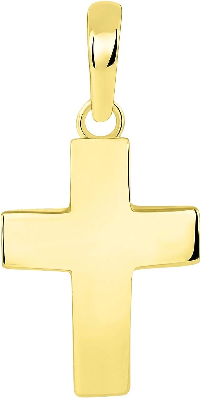 Solid 14k Yellow We OFFer at cheap prices Gold Plain Pendant Cross Charm Regular dealer Petite