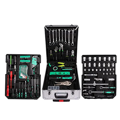 AMC Set valigia utensili cassetta attrezzi da lavoro in cromo vanadio 399 pezzi trolley XXL, strumenti e accessori per un utilizzo professionale o fai da te scomparti per attrezzi chiavi a cricchetto
