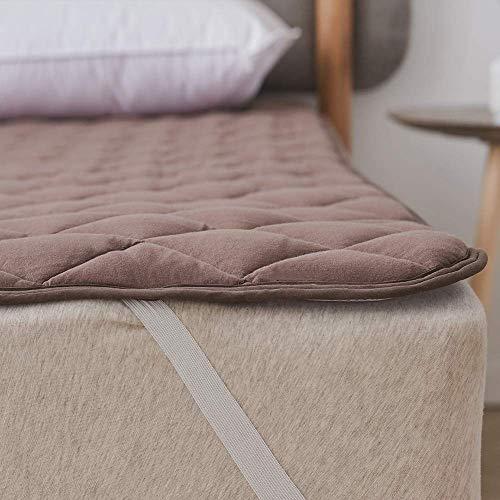 クモリ(Kumori) 綿100% 敷きパッド 洗える ベッドパッド 抗菌・防臭・防ダニ加工 オールシーズンで使える ベッドシーツ ベッドマット 敷パッド マットレスパッド 丸洗いOK (キング・180X200cm, ブラウン)
