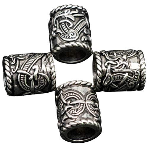 Mcree 4 Pcs Viking Norse Runes Beard Dreadlocks Beads Charm Findings for Bracelet Pendant Necklace Hair DIY Bracelet Jewelry Pendants