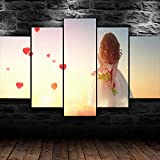 WHYQZ Cuadro En Lienzo 5 Piezas Impresión En Lienzo Niña con Flores de tulipán Decoracion Salon Modernos Dormitorio Impresión Pintura Moderna Arte del Hogar Regalo Listo para Colgar