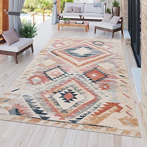 TT Home In-& Outdoor Teppich Terrasse Vintage Küchenteppich Ethno Design Rot Beige Orange, Größe:160x220 cm