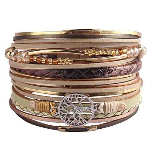 JAOYU Tree of Life Leather Multi-Layer Wraps Bracelet,Boho Wide Buckle Wristband Bangle,Braided Cuff Bracelets for Women