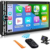 Advanced Double Din Carplay Car Stereo Kit with Voice Control, Mirror-Link Compatible with iOS & Android,Support Backup & Frontview Camera, Bluetooth 5.0, Steering Wheel, AM/FM Car Radio Receiver