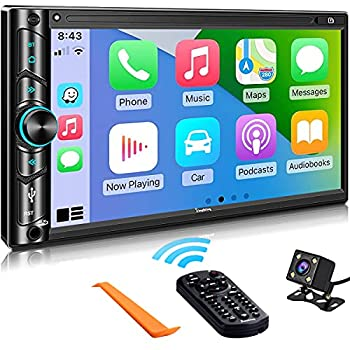 Advanced Double Din Carplay Car Stereo Kit with Voice Control Mirror-Link Compatible with iOS & Android,Support Backup & Frontview Camera Bluetooth 5.0 Steering Wheel AM/FM Car Radio Receiver