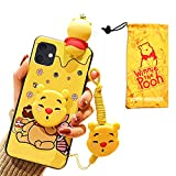 Cute Winnie Bear Case for iPhone 11, Cartoon 3D Animal Character Silicone Protective iPhone 11 Cover Case for Kids Girl6.1 Inch