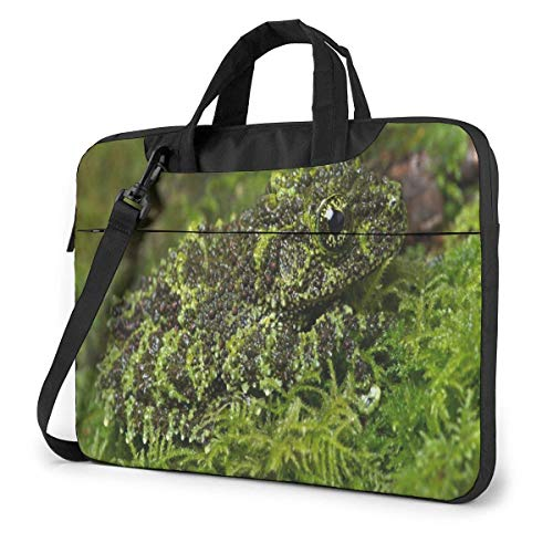 Ahdyr Frog Camouflage Moss Laptop Case 14 Inch Carrying Case with Strap
