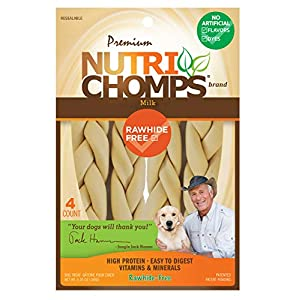 NutriChomps 9-inch Braid, Rawhide-Free Dog Treats, Easy to Digest, Healthy, 4 Count Milk