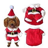 SYMTOP Disfraz Navideño de Papá Noel para Perro Pequeño con Gorro de Navidad para...