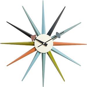 SHISEDECO Modern George Nelson Sunburst Clock Multicolor - Non Ticking,Wooden Mid Century Retro Design Decorative Silent Wall Quartz Clock for Home,Living Room,Office and Bedroom etc.(Multicolor)