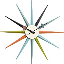 Shise George Nelson Sunburst Clock in Multicolor, Decorative Modern Silent Wall Clock for Home, Kitchen,Living Room,Office etc. - Colorful Wooden Mid Century Retro Design(Full Range Available)