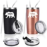Gingprous Mama Bear, Papa Bear Travel Tumbler Set, Gifts for New Parents Pregnancy New Mom and New Dad Couples, 20 Oz Insulated Stainless Steel Travel Tumbler with Lids(Set of 2, Black and Rose Gold)