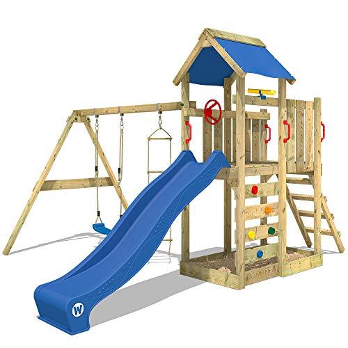WICKEY Spielturm MultiFlyer - Klettergerüst mit Schaukel, Strickleiter, Kletterwand und -leiter, blauer Plane, blauer Wellenrutsche und viel Spiel-Zubehör