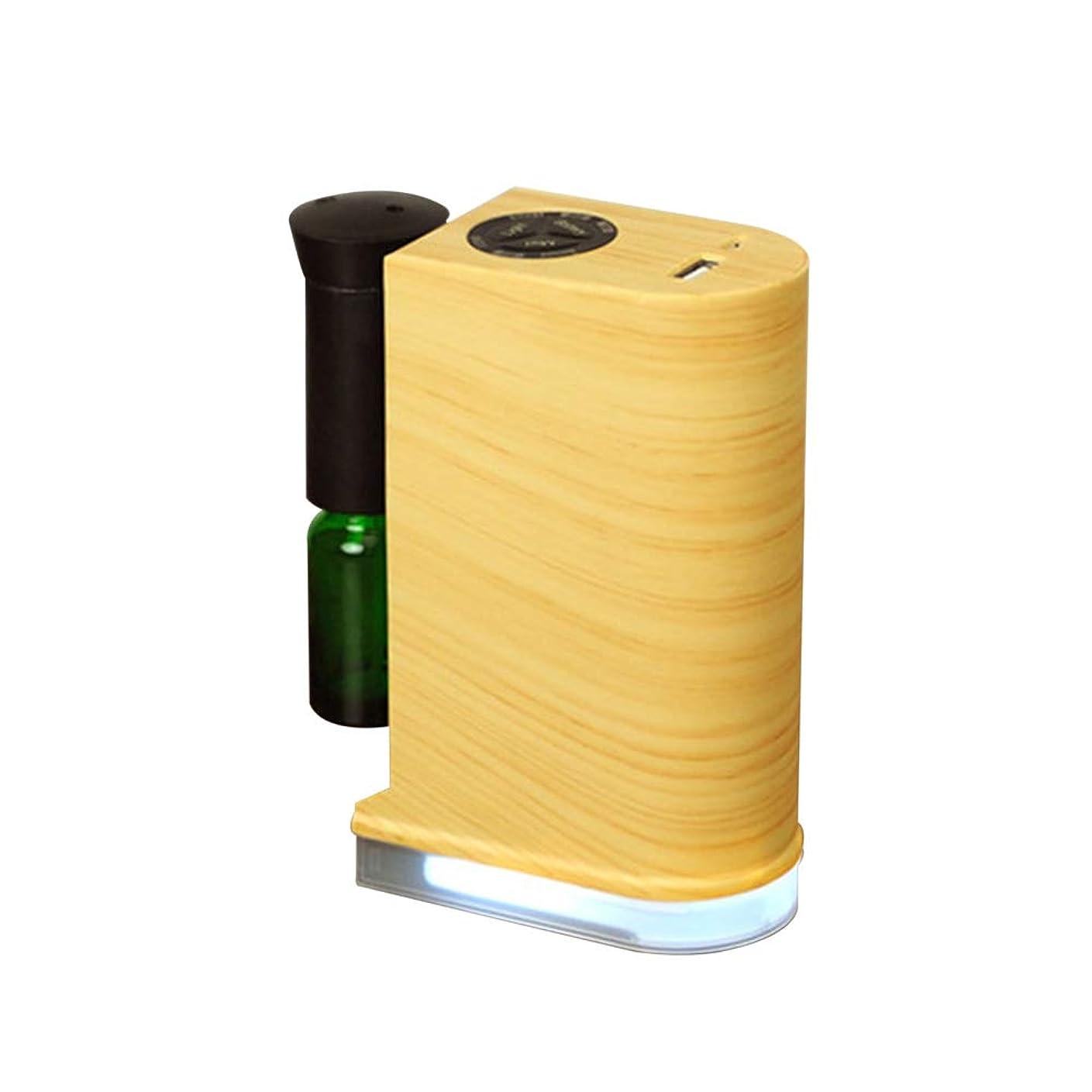 アブセイ例省ネブライザー式アロマディフューザー 水を使わない アロマオイル対応 LEDライト付き スマホ充電可能 USBポート付き 木目調 (ナチュラル)