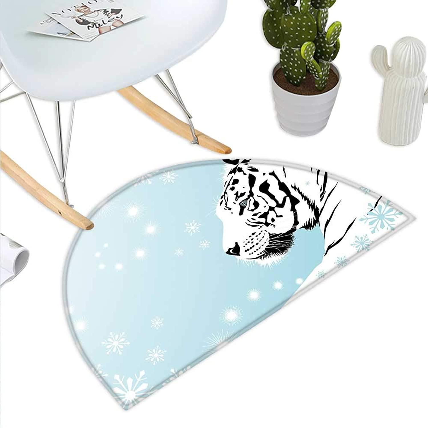 Tiger Semicircle Doormat White Bengal Beast Lies Against Snowy Background Beautiful Eyes Majestic Nature Halfmoon doormats H 43.3  xD 64.9  Turquoise Black
