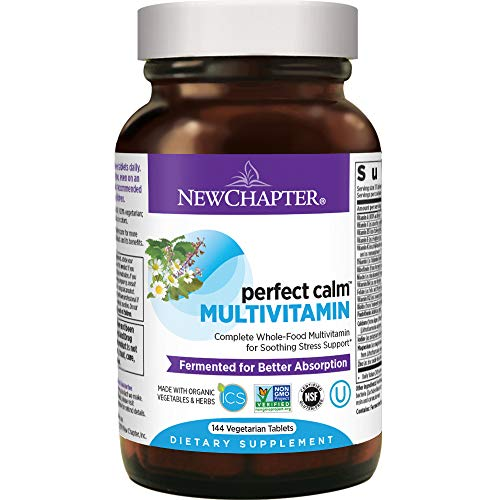 New Chapter Calming Supplement - Perfect Calm Multivitamin for Stress + Mood Support with B Vitamins + Holy Basil + Lemon Balm + Organic Non-GMO Ingredients - 144 ct