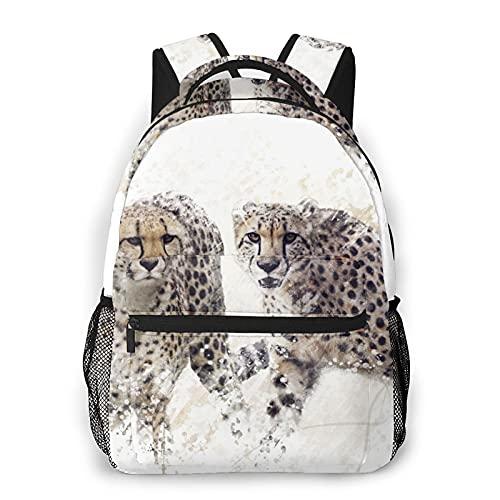 Zaino per laptop da viaggio,pittura digitale di due ghepardi ritratto,grande borsa da lavoro antifurto per computer resistente all'acqua,borsa da viaggio per scuola universitaria sottile e resistente
