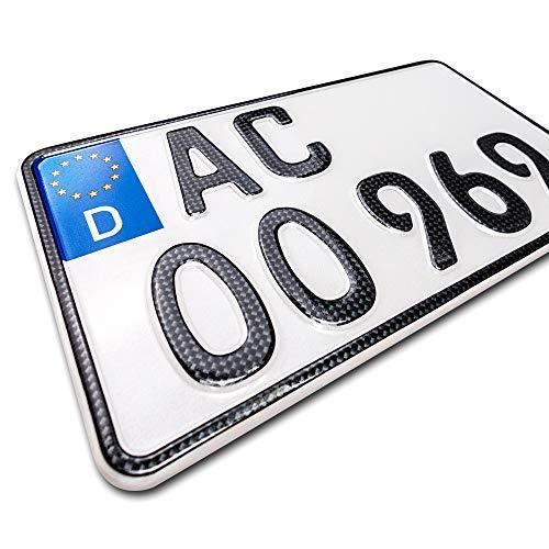 schildEVO 1 Carbon Kfz Kennzeichen | 240 x 130 mm | Motorrad & Roller | Traktor | Leichtkraftrad | Anhänger | Motorrad-Nummernschild | Saison