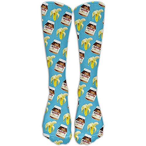 ulxjll Sportliche Socken Bananen- Und Nutella-Strümpfe Laufen Wandern Volleyball Hohe Lange Socken Gestalte Mode 50Cm