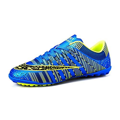 KKLT Zapatos De Fútbol TF para Niños Y Niñas con Tacos, Zapatillas para Correr En Pista Y Campo De Entrenamiento De Competición, Botas Deportivas Profesionales Al Aire Libre(37, Blue)