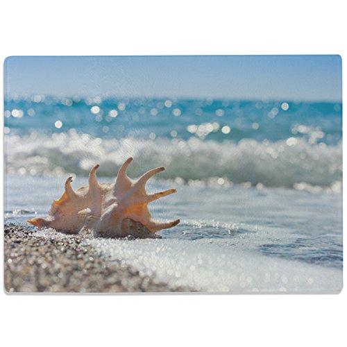 """Wandkings Glasschneidebrett """"Rauschendes Meer mit Muscheln"""" - Glasschneideplatte, Schneidebrett aus Glas, Frühstücksbrettchen"""